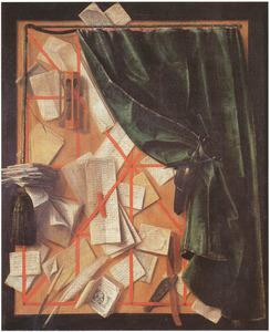 Trompe-l'oeil: brievenbord met zandloper, scheermes, schaar en gordijn