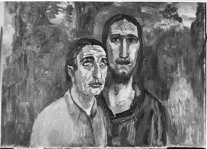 Portret van Jan Musch (1875-1960) en Albert van Dalsum (1889-1971) (als Christusfiguur)