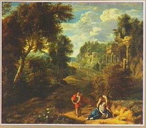 Zuidelijk landschap met Silvio, Dorinda en Linco (uit: Guarini, Il Pastor Fido)