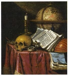 Vanitasstilleven met een kandelaar met uitgedoofde kaars, doodshoofd, een schelp met zeepbellen, een hemelglobe, een omgekeerde luit en boeken op een tafel