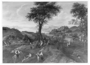 Landschap met dansende boeren