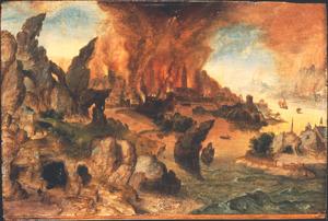 Kustlandschap met Elia in de wildernis gevoed door de raven (1 Koningen 17:1-6)