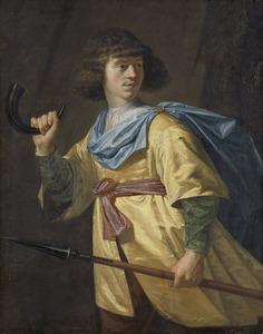 Portret van een jonge man met speer en jachthoorn