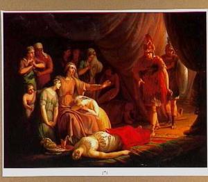 Alexander de Grote bezoekt de familie van Darius in de tent bij de dood van Darius' vrouw Statira