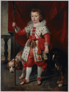 Portret van een jongen in een hermelijnen mantel met twee honden, genaamd François de Boisschot, graaf van Erps