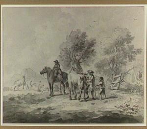 Landschap met figuren en paarden