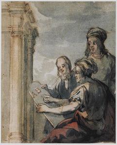 Drie figuren bij een klassiek bouwwerk (mogelijk: deel van een voorstelling met Jozua die de wet voorleest van de stenen tafelen)
