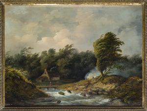 Bebost rivierlandschap met figuren bij een vuur