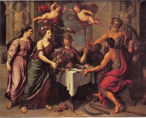 Allegorie op de Werkzaamheid, beloond door Tijd  en Minerva met Overvloed en Vrede