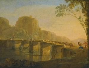Landschap met herders en hun vee lopend over de Acquoria brug bij Tivoli