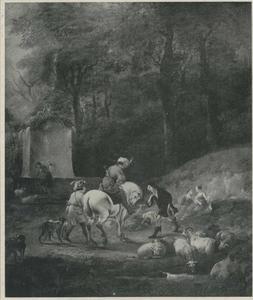 Boslandschap met elkaar begroetende jagers in Oosters kostuum