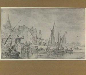 Dorpsgezicht met bootjes bij een brug