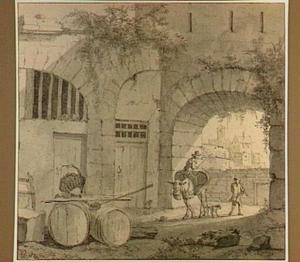 Italiaanse binnenplaats met tonnen