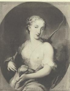 Portret van een vrouw als Diana Chasseuse