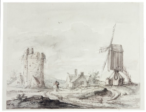 Landschap met toren en windmolen