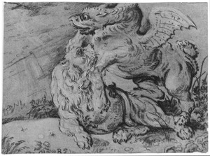 Vechtende leeuw en griffioen