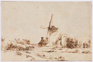 Rivierlandschap met molen langs een vaart