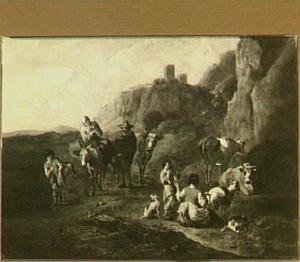 Zuidelijk landschap met herders en reizigers
