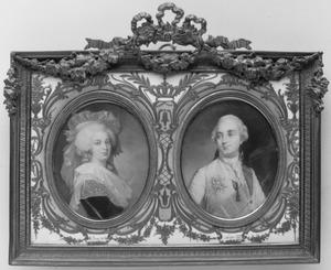 Portretminiatuur van Marie-Antoinette en Lodewijk XVI