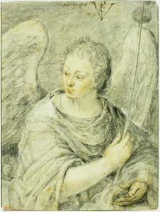 Engel met spons en dobbelstenen (lijdenswerktuigen van Christus)