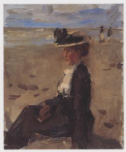 Dame aan het strand van Scheveningen