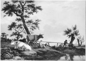 Landschap met vee en hengelaars bij een brug over een sloot