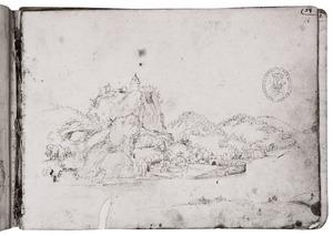 Berglandschap met fantasie-architectuur