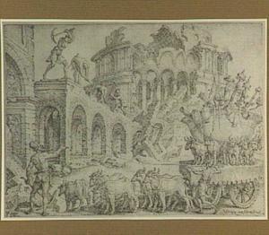 De plundering en verwoesting van de tempel in Jeruzalem door de Chaldeeën (2 Koningen 25:10, 13-17)