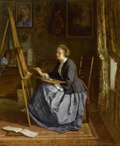 Portret van schilderderende madame Leleux