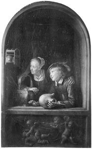 Jongen met een spreeuwenpot en meisje met een emmer vruchten in een vensternis