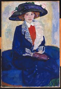 Jonge vrouw met blauwe hoed