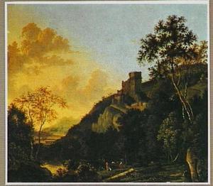 Zuidelijk landschap met een versterkte stad op een bergtop