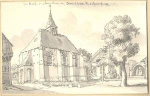 Bronkhorst, gezicht in het dorp met de kerk en de Steenpoort