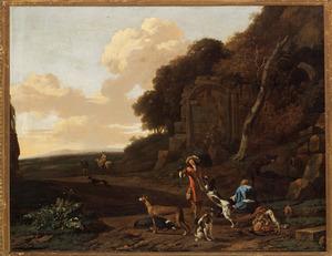Zuidelijk landschap met rustende jagers bij een ruïne