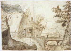 Riverlandschap met boerderij en brug