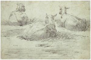Drie rustende schapen