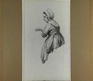 Vrouw met muts en kom; gezien van opzij