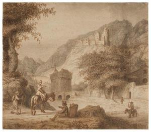 Berglandschap met rivier, brug en kasteel