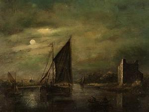 Schepen op een rivier bij maanlicht