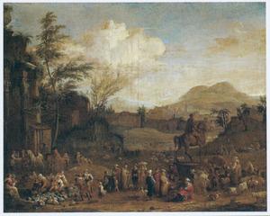 Zuidelijk landschap met een markt bij antieke ruïnes