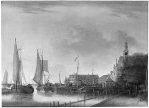 Gezicht op de haven van Hoorn met de hoofdtoren