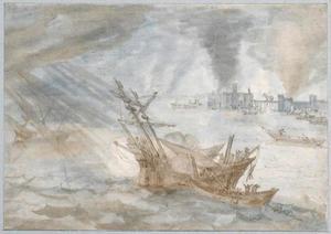 Schipbreuk voor de kust bij stormachtig weer