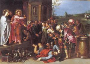 De dood van Ananias temidden van zijn schatten (Handelingen 5:1-6)