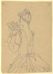 Staande vrouw in avondkleding met een bos bloemen.