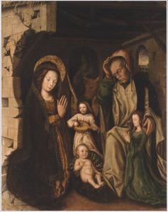 De H. Familie met een engel en een vrouwelijke donor in de stal