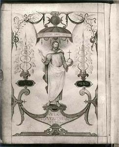 Staande en zegenende Christus (Via, Veritas et Vita, Lux Mundi)