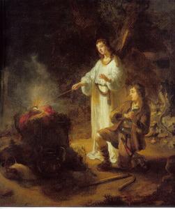 De engel des Heeren ontsteekt het offer dat door Gideon is voorbereid  (Richteren 6:21)