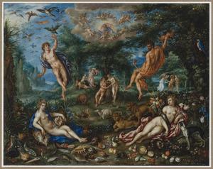 Personificaties van de vier Elementen met op de achtergrond scènes van het scheppingsverhaal