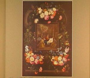 Bloemenkrans rond de voorstelling van aanbidding van de engelen
