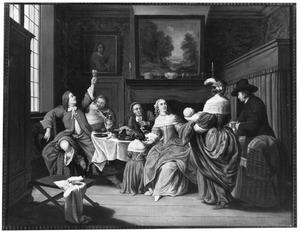 Familie in een interieur: feest ter gelegenheid van een pasgeboren kind